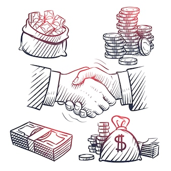 Schets hand schudden. doodle dollar packs, geldzak, gouden munten en geldsymbolen.