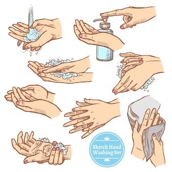 Schets handen wassen hygiëne set