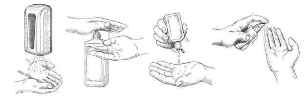 Schets handendesinfectiemiddelen. persoons schone hand met alcoholgel, muurontsmettingsmiddel, spray en antisepticum in fles. preventie covid-19 vector set. illustratie muurontsmettingsfles voor bescherming van de gezondheid