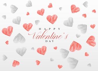 Schets harten patroon achtergrond voor Valentijnsdag