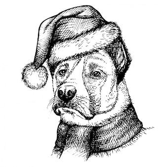 Schets hond in kerstman hoed.