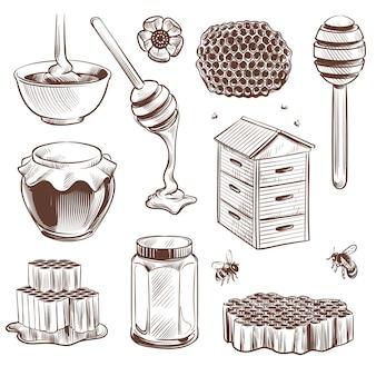 Schets honing, bekeeping etsen bijenkorf vintage hand getrokken set