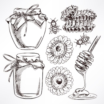 Schets honing set. potten met honing, bijen, honingraat. handgetekende illustratie