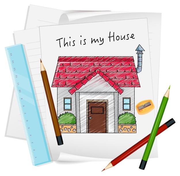 Schets huisje op papier geïsoleerd