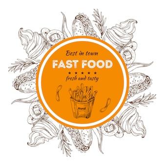Schets ijs, friet, hotdogs met fastfood-insigne