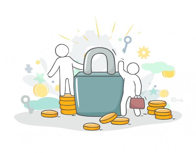 Schets illustratie met kleine mensen en munten