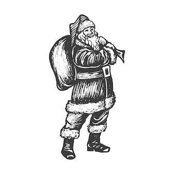 Schets illustratie van de kerstman met zak vol cadeautjes