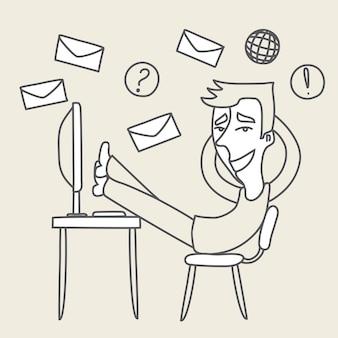 Schets illustratie van gelukkig man legde zijn voeten op tafel