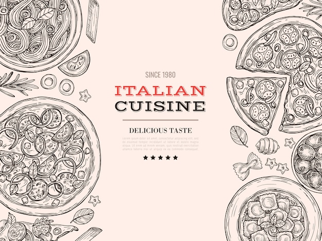 Schets italiaanse keuken. bovenaanzicht eten, getekende pasta pizza kaas. vintage restaurant keuken menu poster, spaghetti maaltijd vector achtergrond. illustratie menu pizza en spaghetti, restaurant traditioneel