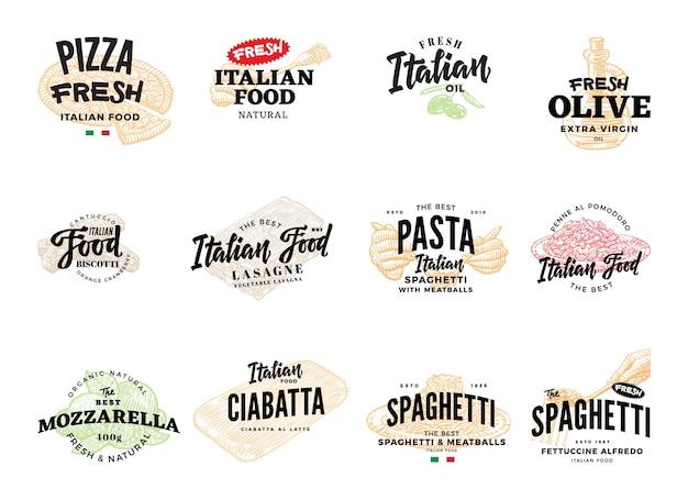 Schets italiaanse voedsellogotypes-collectie