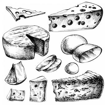 Schets kaas set. hand getrokken inktillustratie van kaassoorten. geïsoleerd op wit