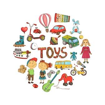 Schets kinderen speelgoed ronde illustratie
