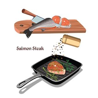 Schets kleurrijke zalm steak koken concept