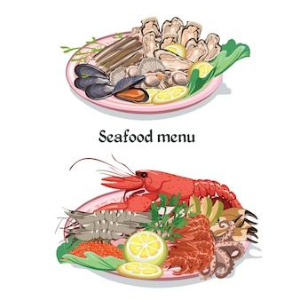Schets kleurrijke zeevruchten menu concept