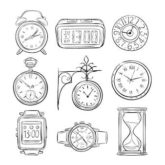 Schets klok. doodle horloge, alarm en timer, zandloper zandloper. hand getrokken tijd vector vintage geïsoleerde pictogrammen