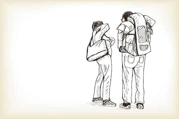 Schets man en vrouw reizen en wachten trein, gratis hand tekenen illustratie