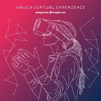 Schets meisje in virtual reality achtergrond