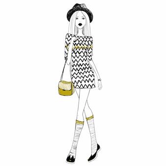 Schets meisje. schetsmodel. mode meisje. stijlvolle vrouw.