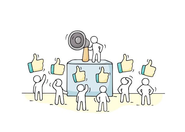 Schets menigte van kleine mensen met soortgelijke tekens. doodle schattige miniatuur met leider op de tribune en megafoon. hand getekend cartoon afbeelding voor zakelijke ontwerp.