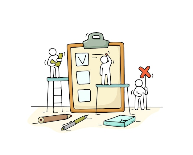 Schets menigte van mensen met checklist