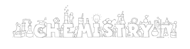 Schets met woord chemie en kleine mensen. hand getekende cartoon