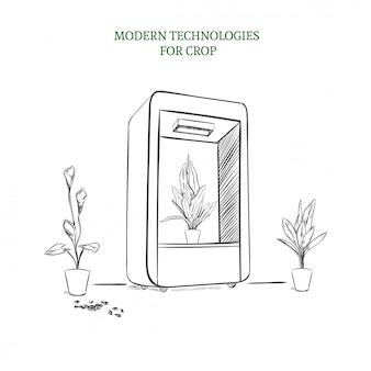 Schets modern botanisch technologieconcept