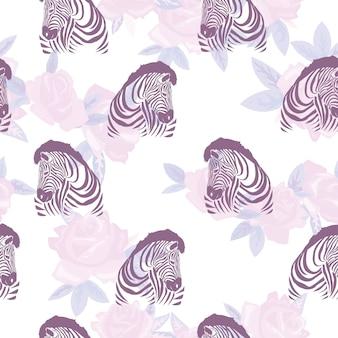 Schets naadloos patroon met wilde dieren zebra print silhouet