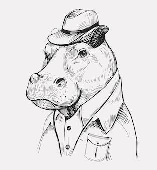 Schets nijlpaard. hand getekende illustratie