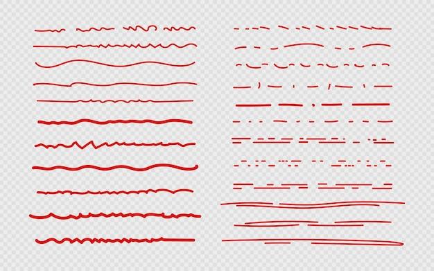 Schets onderstrepen. rode krabbelstreek, randen en markeringen in dagboek
