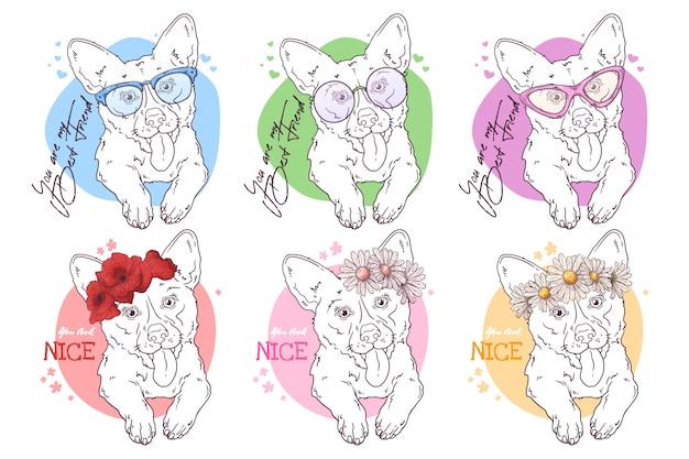Schets portretten van corgi-honden met accessoires