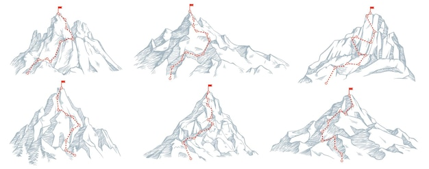 Schets route naar bergtop set