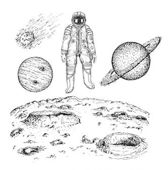 Schets ruimtepictogram vastgestelde illustratie