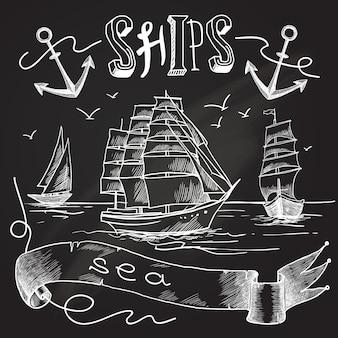 Schets schets illustratie op schoolbord, tekening