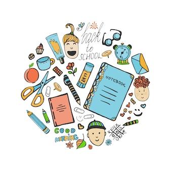Schets school briefpapier set en kinderen pictogrammen. vectorkantoorinzameling in krabbelstijl. terug naar school.