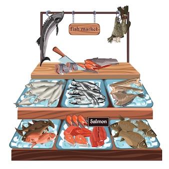 Schets seafood market concept