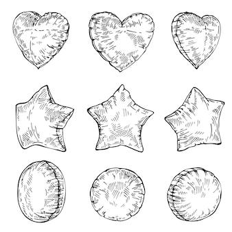 Schets set ballonnen geïsoleerd op wit hart ster en ronde vorm ballonnen