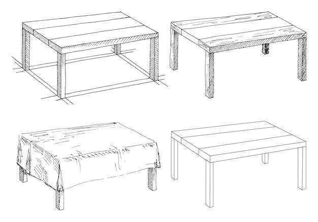 Schets set geïsoleerd meubilair. verschillende tafels. lineaire zwarte tabellen op een witte ruimte.