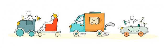 Schets set met schattige auto's en mensen