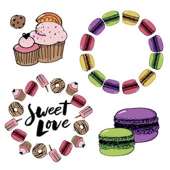 Schets set van dessert. gebak-snoepjes collectie hand getrokken vectorillustratie. retro stijl.