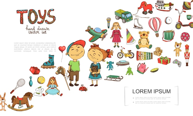 Schets speelgoed kleurrijke sjabloon