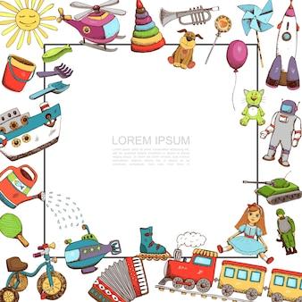 Schets speelgoed sjabloon met frame illustratie