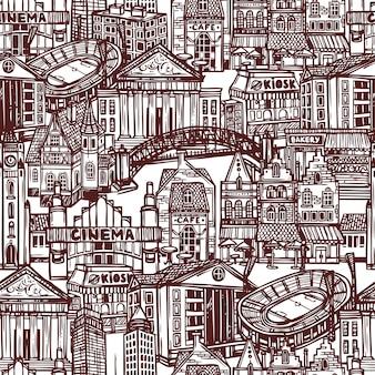 Schets stad naadloze patroon