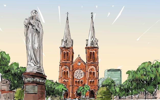 Schets stadsgezicht van ho chi minh stad toon saigon notre-dame kathedraal basiliek, illustratie