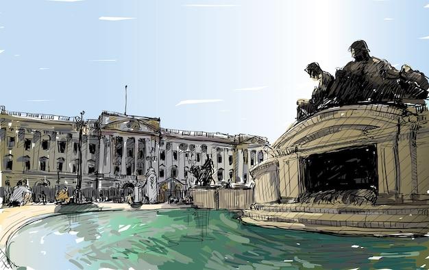 Schets stadsgezicht van londen, engeland, toon de openbare ruimte van buckingham palace, monumentenfontein en oud gebouw, illustratie