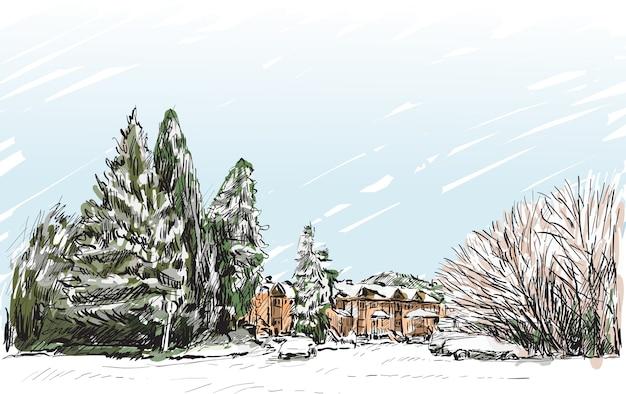 Schets stadsgezicht van quebec, canada tonen sneeuw en huizen uitzicht, vrije hand tekenen illustratie
