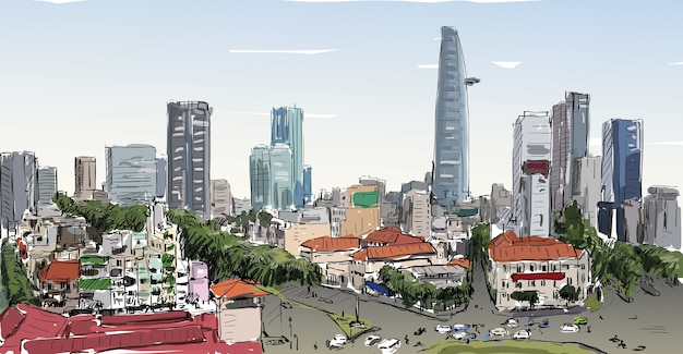 Schets stadsgezicht van saigon stad (ho chi minh) toon hoofdstad van het gebouw in de stad, illustratie