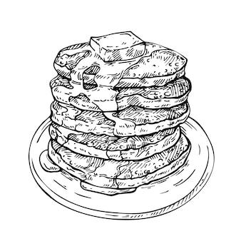 Schets stapel pannenkoeken met boter en stroop op plaat.