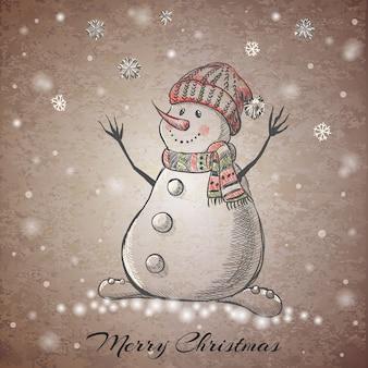 Schets stijl hand getekende sneeuwpop