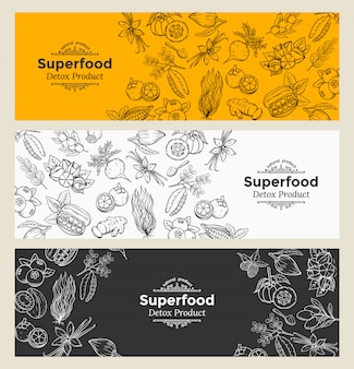 Schets superfood iconen set