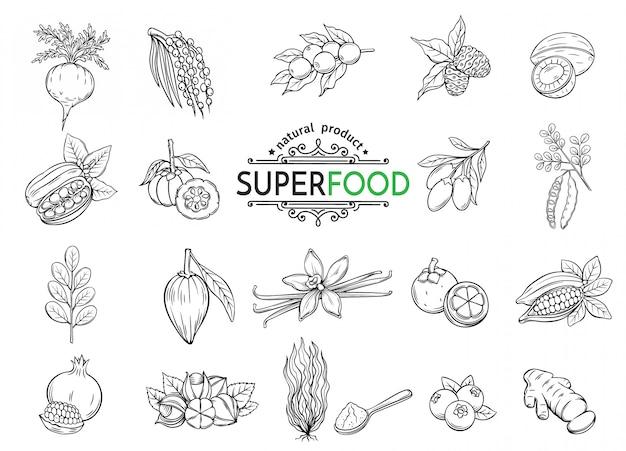 Schets superfood iconen set
